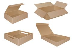 Brown cardboard boxes. Collection. Vector 3d illustration isolated on white background Royalty Free Stock Photography