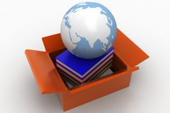 Brown Cardboard containing books and globe Royalty Free Stock Photography