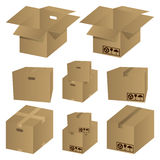 Brown cardboard icons set Royalty Free Stock Photos