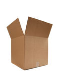 Brown cardboard moving box on white Stock Photography