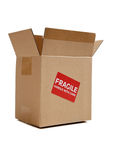 Brown cardboard moving box on white royalty free stock photos