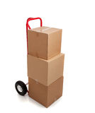 Brown cardboard moving box on white Stock Images