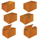 Brown cardboard shipping box vector illustration Royalty Free Stock Images