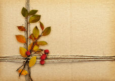 Brown cardboard tied with rope, autumn leaves and red berries. For background stock photo