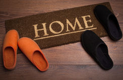 Brown carpet doormat Stock Photos