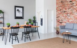 Brown carpet in front of grey sofa in flat interior with poster and black chairs at dining table stock photos
