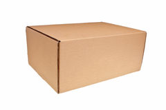 Brown carton box. Brown carton box isolated over white background Royalty Free Stock Photography