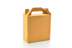Brown carton box with handle isolated on white background Royalty Free Stock Photos