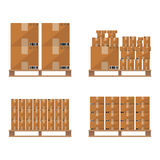 Brown carton box wooden pallet Stock Photo