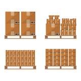 Brown carton box wooden pallet Stock Photo