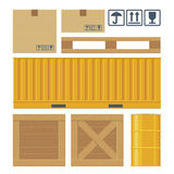 Brown carton packaging box, pallet, yellow container. Wooden crates, metal barrel  on white background with fragile attention signs. Flat  set illustration for Stock Image