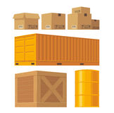 Brown carton packaging box, pallet, yellow container Royalty Free Stock Photography