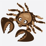 Brown cartoon  crab isolated on white Stock Images