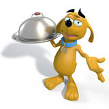 Brown cartoon dog waiter Stock Photo