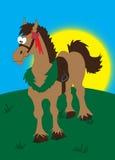 Brown cartoon horse. Collection of cartoon animals horse vector illustration