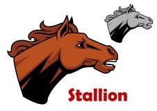 Brown cartoon horse stallion character Stock Photos