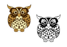 Brown cartoon and outline colorless owl bird Stock Photo