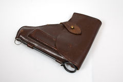Brown case for makarov pistol Royalty Free Stock Photo