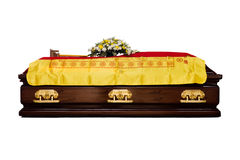 A brown Casket at a traditional Chinese funeral services Royalty Free Stock Photo