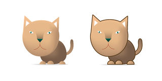 Brown cat. Illustration on white Stock Images