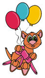 Brown cat on balloons Stock Images