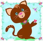 Brown Cat with Dragonflies and Flowers Royalty Free Stock Photos