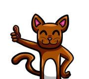 Brown Cat Giving pulgares para arriba stock de ilustración