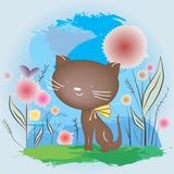Brown cat on the grass. Cat sitting on the grass. Vector illustrarion Royalty Free Stock Photos