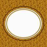 Brown cat pattern oval border with copy space stock illustration