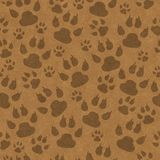 Brown cat paw prints seamless pattern background. Brown cat paw prints seamless and repeats pattern background with texture royalty free illustration