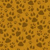 Brown cat paw prints seamless pattern background stock illustration