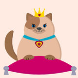 A brown cat princess is sitting on a pillow. Royalty Free Stock Images