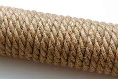Brown cat scratching post, selective focus, macro close-up. New brown cat scratching post, selective focus, macro close-up royalty free stock photography