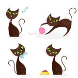 Brown cat series in various poses 1. Stylized series of cartoon kitten characters in 4 different poses. Vector Illustration Royalty Free Stock Photography