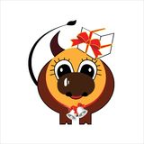 Brown caw. Sweet small caw with present stock illustration