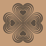 Brown Celtic heart knot - stylized symbol. Made of hearts. Stock Photos