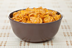 Bowl of crunchy nuts corn flakes for breakfast Stock Photo