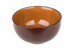 Brown ceramic bowl isolated on white Stock Photo