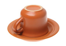 Brown ceramic cup Stock Photo