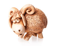 Brown ceramic ram doll isolated on white Royalty Free Stock Photography