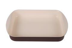 Brown ceramic rectangular baking dish Stock Images