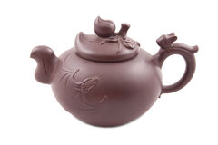 Brown ceramic's teapot with cover Stock Photo