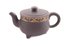 Brown ceramic's teapot with cover Royalty Free Stock Image