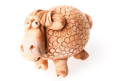 Brown ceramic sheep doll isolated on white Stock Images