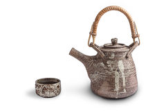 Brown ceramic  teapot and cup Stock Photography
