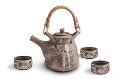 Brown ceramic  teapot and cup Royalty Free Stock Photos
