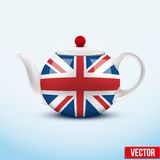 Brown ceramic teapot. Vector illustration. Royalty Free Stock Photos