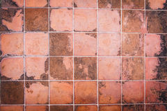 Brown ceramic wall tiles and details of surface Royalty Free Stock Images
