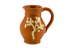 Brown ceramics souvenir jug isolated on white Stock Images