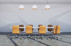 Brown chair conference room. Luxury meeting room interior with a long white table surrounded by light brown office chairs. There are three stylish lamps. 3d Stock Photos